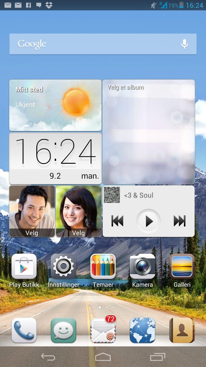 Slik ser Huaweis variant av Android ut. Her er det bare hjemmeskjermer. App-menyen er tatt bort. Det krever en viss ryddighet.Foto: Finn Jarle Kvalheim, Amobil.no