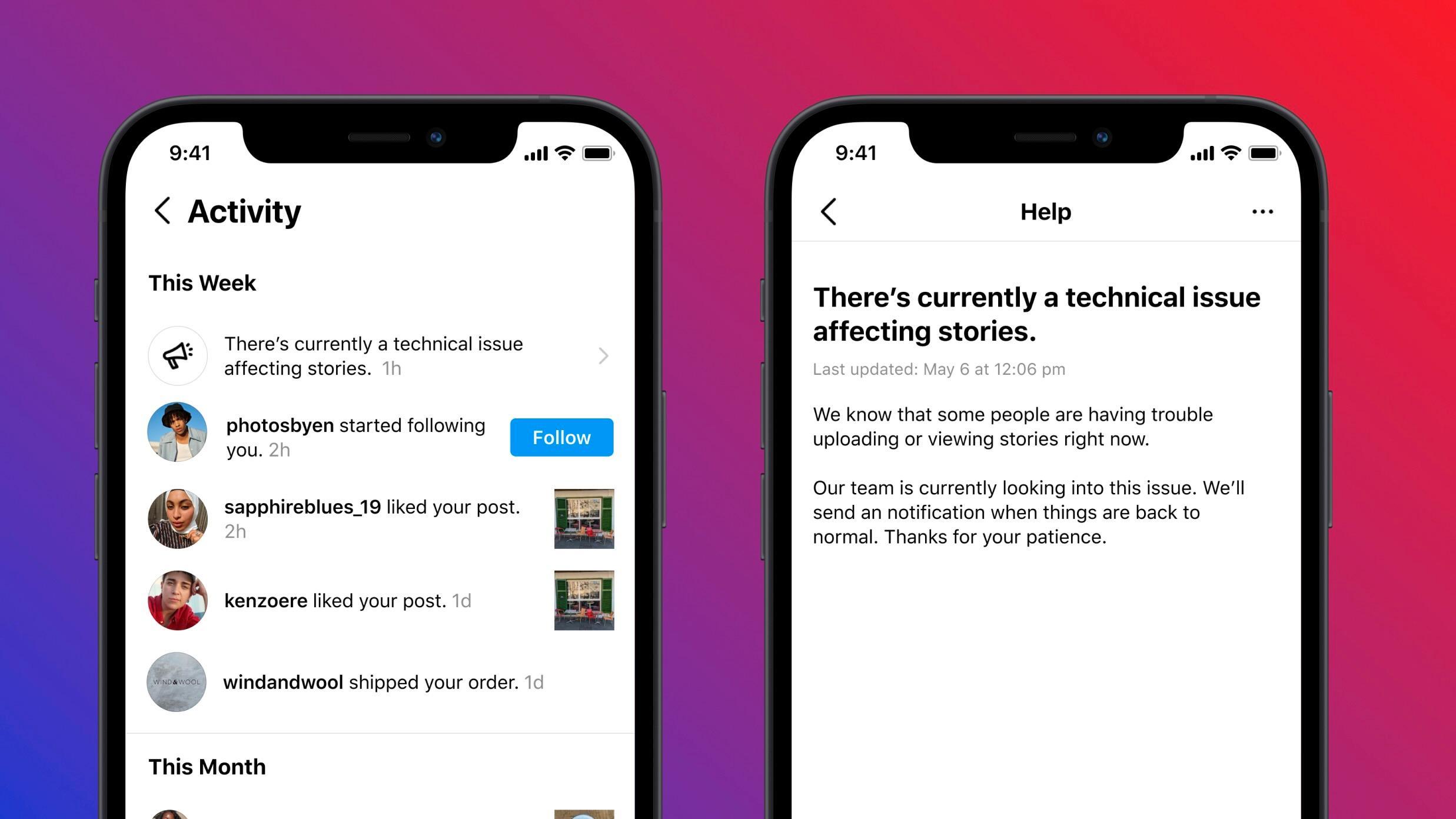 Instagram skal varsle om nedetid