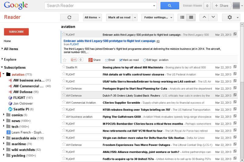 Slik så Google Reader ut før Google dro ut kontakten tidligere i år.Foto: Wikipedia