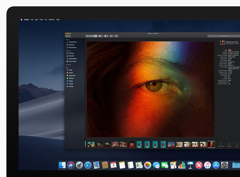 Nytt i macOS mojave er blant annet en såkalt dark mode, som fremhever vinduet du jobber i og mørkner alt annet.