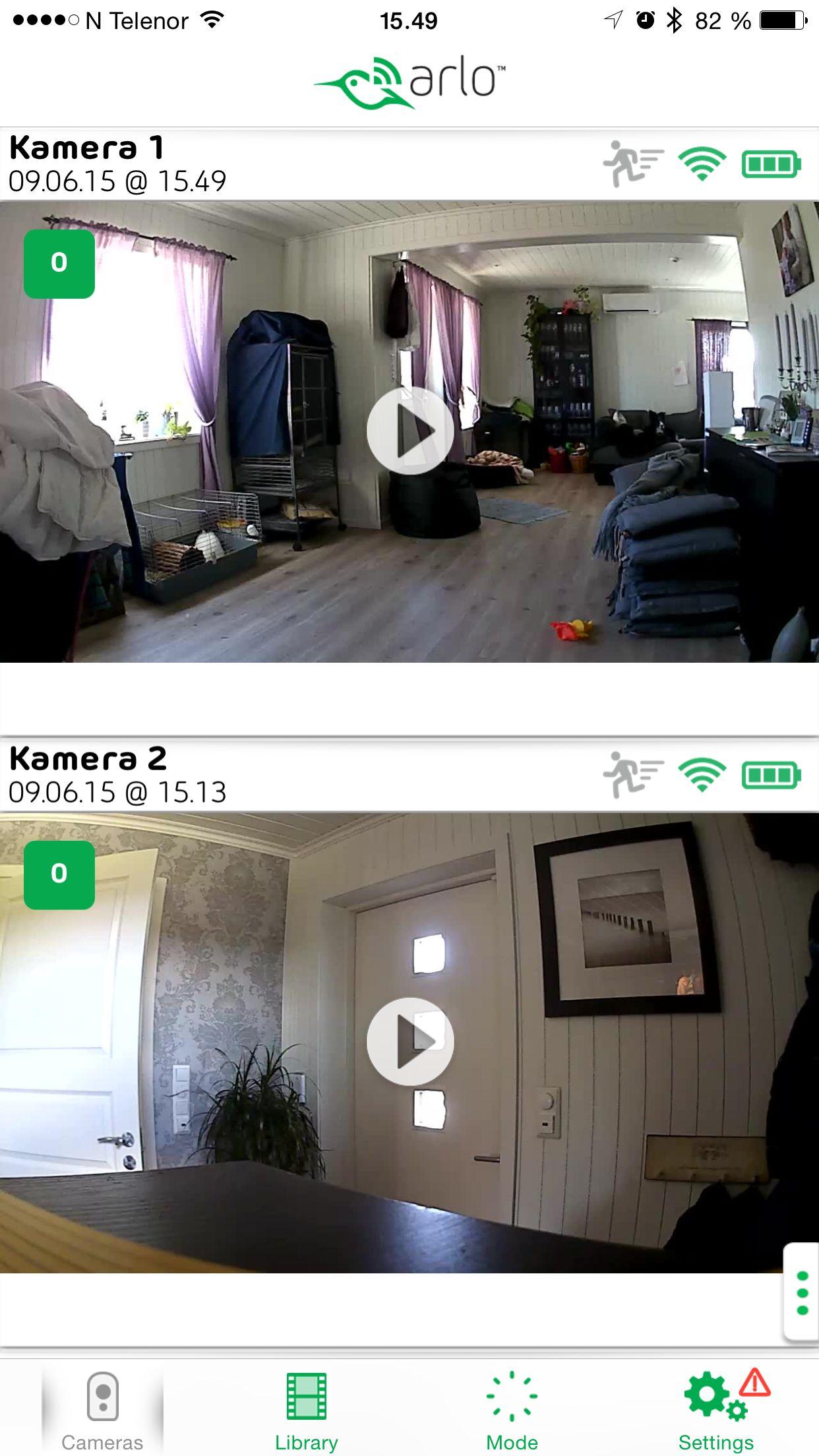 Slik ser appen ut om du vil se hva som foregår hjemme. Foto: Ole Henrik Johansen / Tek.no