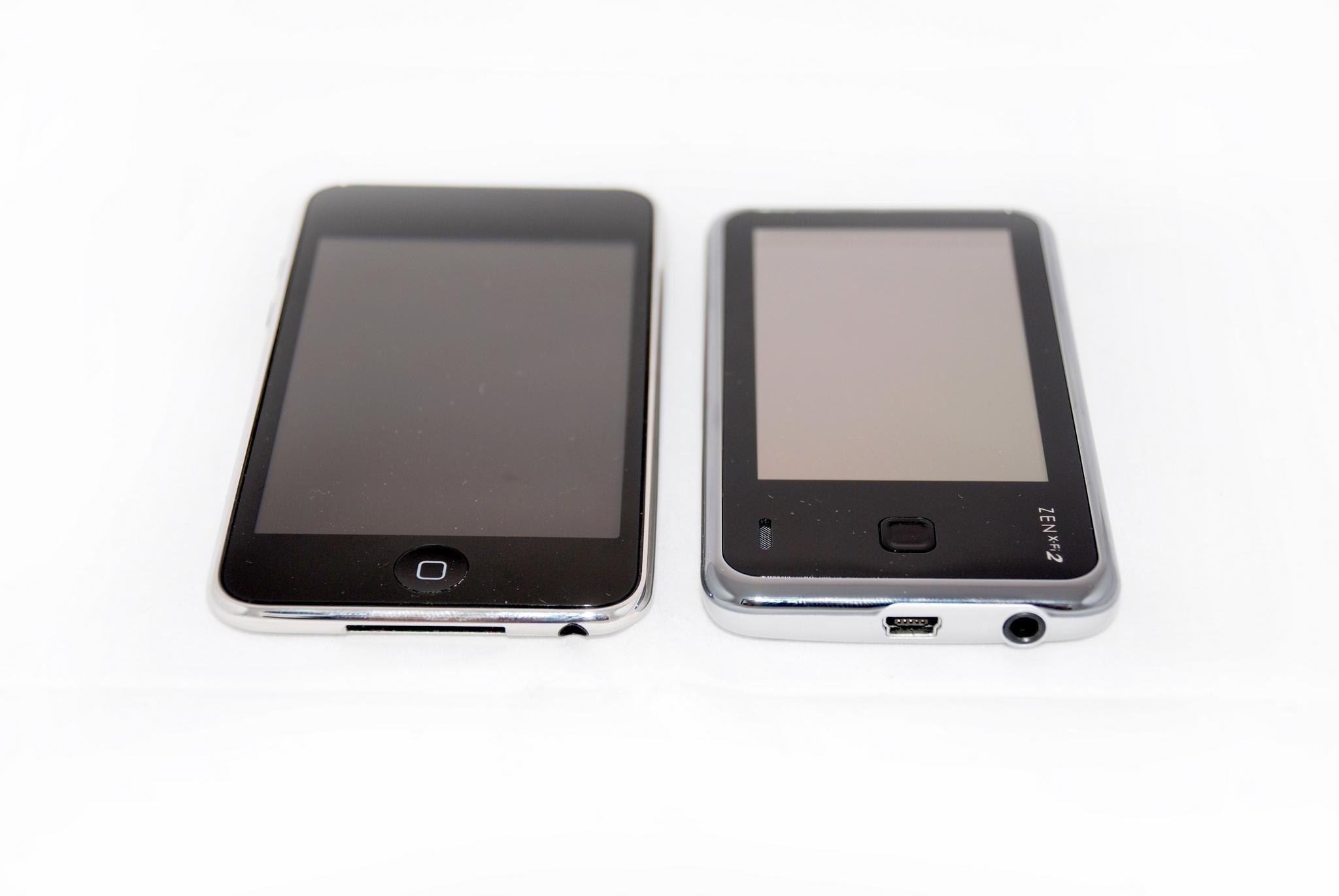 Ipod Touch sammen med Creative Zen X-fi 2.