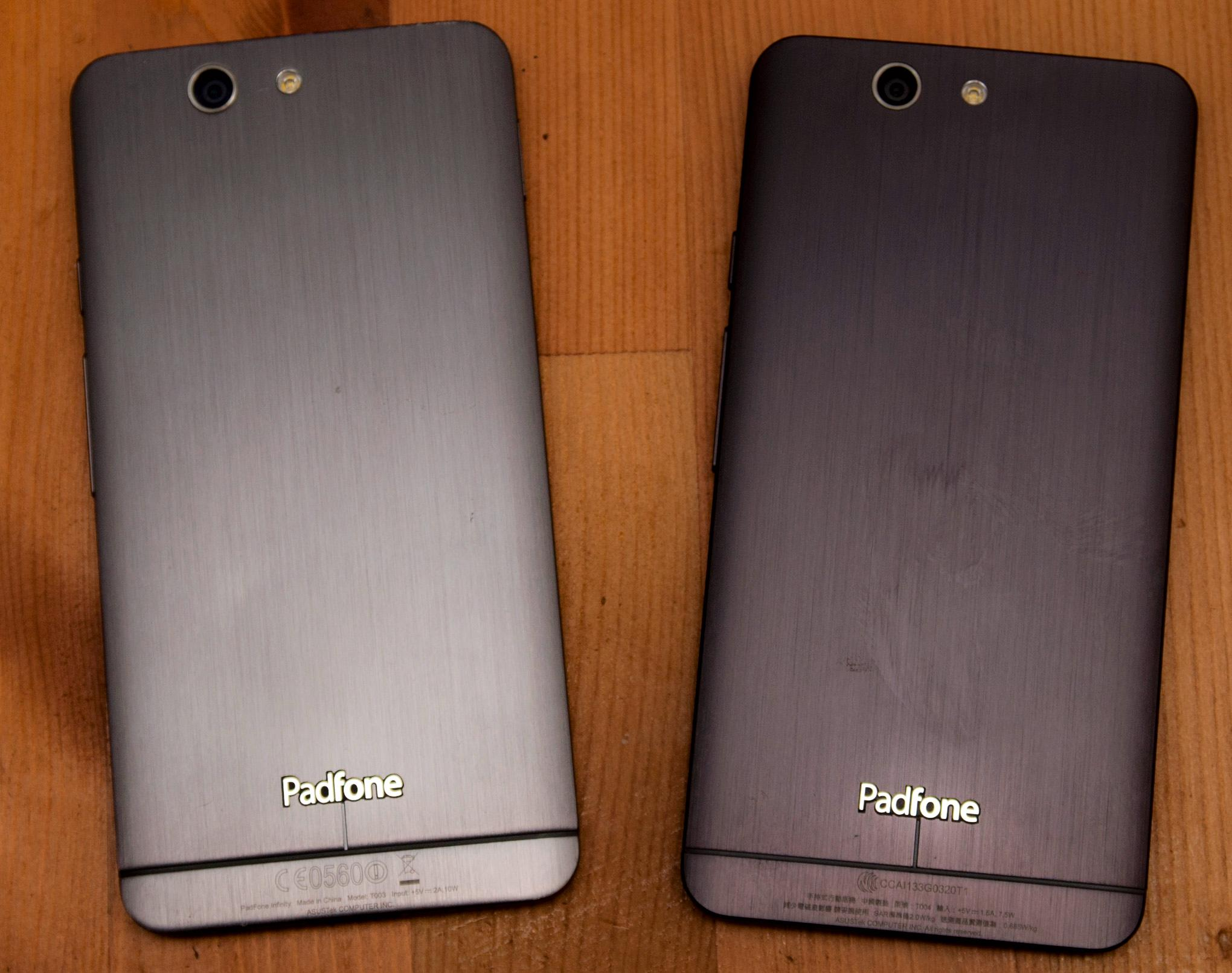 Ser du forskjellen? PadFone Infinity til venstre, og PadFone A86 til høyre.Foto: Finn Jarle Kvalheim, Amobil.no