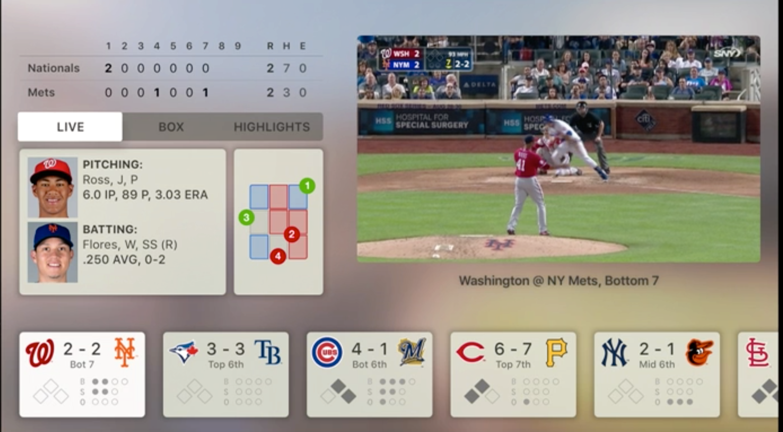 Apper er et stort fokus i nye Apple TV, og amerikanerne ha selvfølgelig laget en app for baseball.