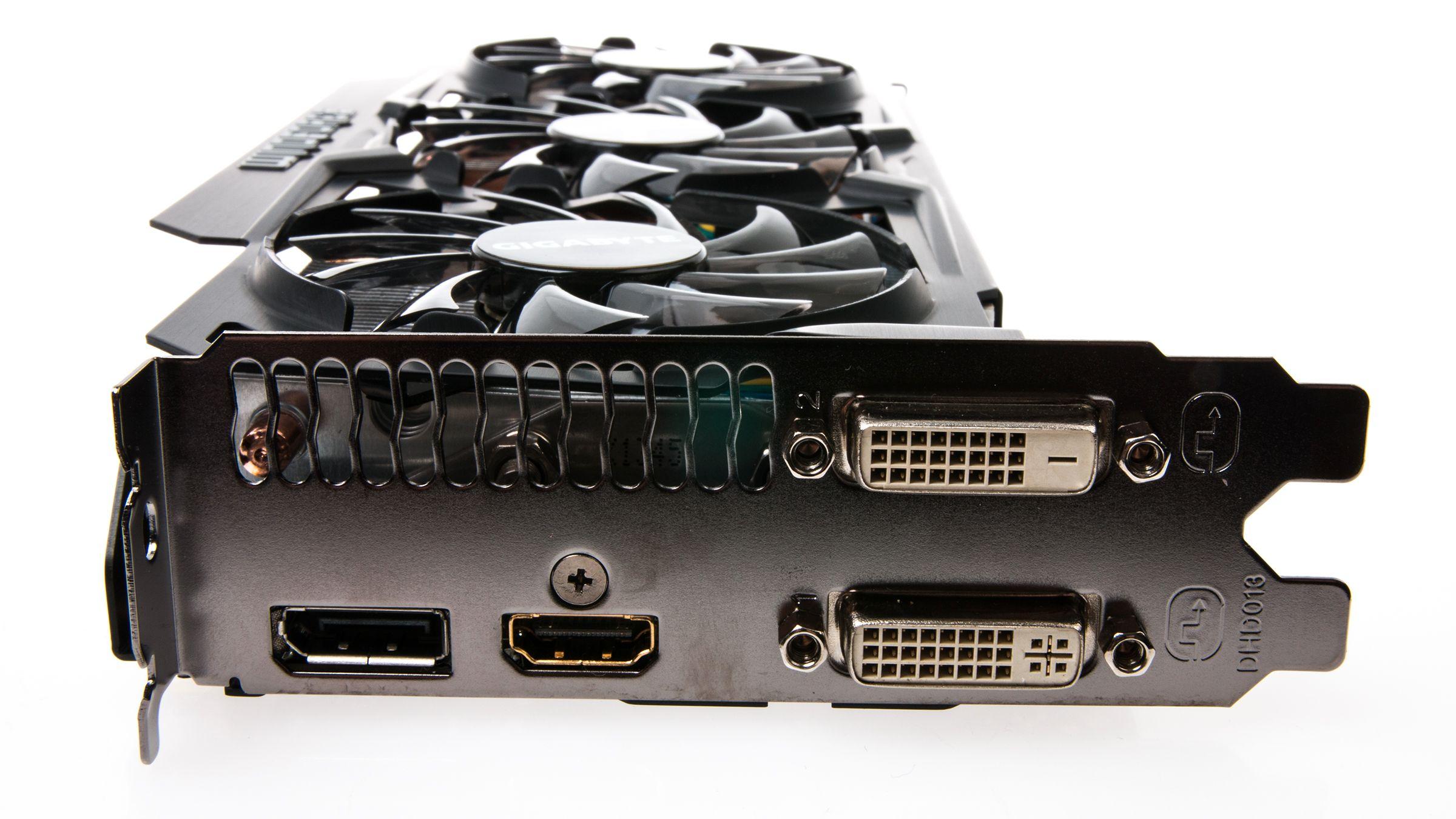 Gigabyte GeForce GTX 780 Ti GHz Edition kommer med både DVI, DisplayPort og HDMI-utganger.Foto: Varg Aamo, Hardware.no