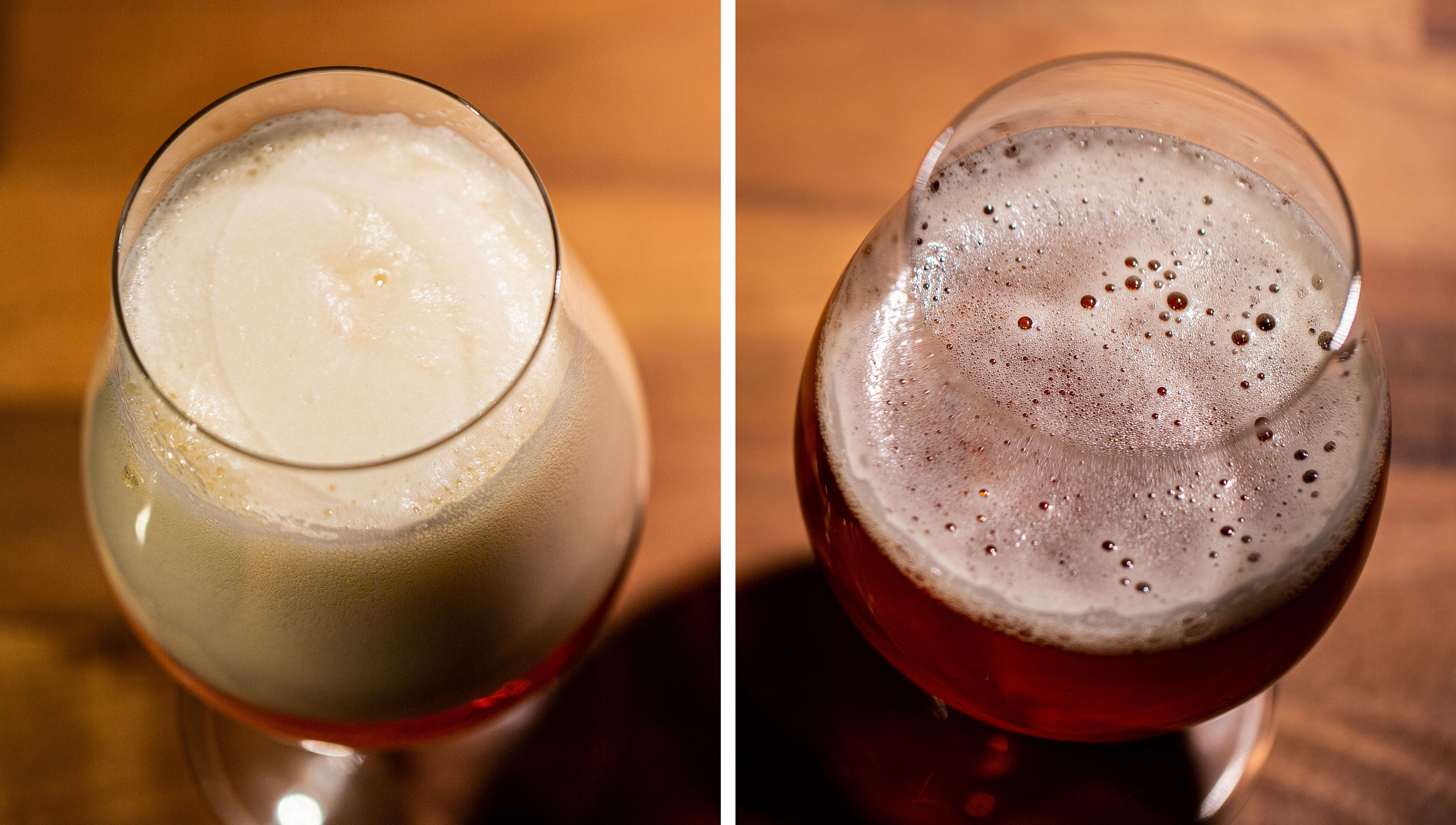 Skummet på toppen er merkbart annerledes, men mindre bobler og fastere form på Fizzics-ølen.