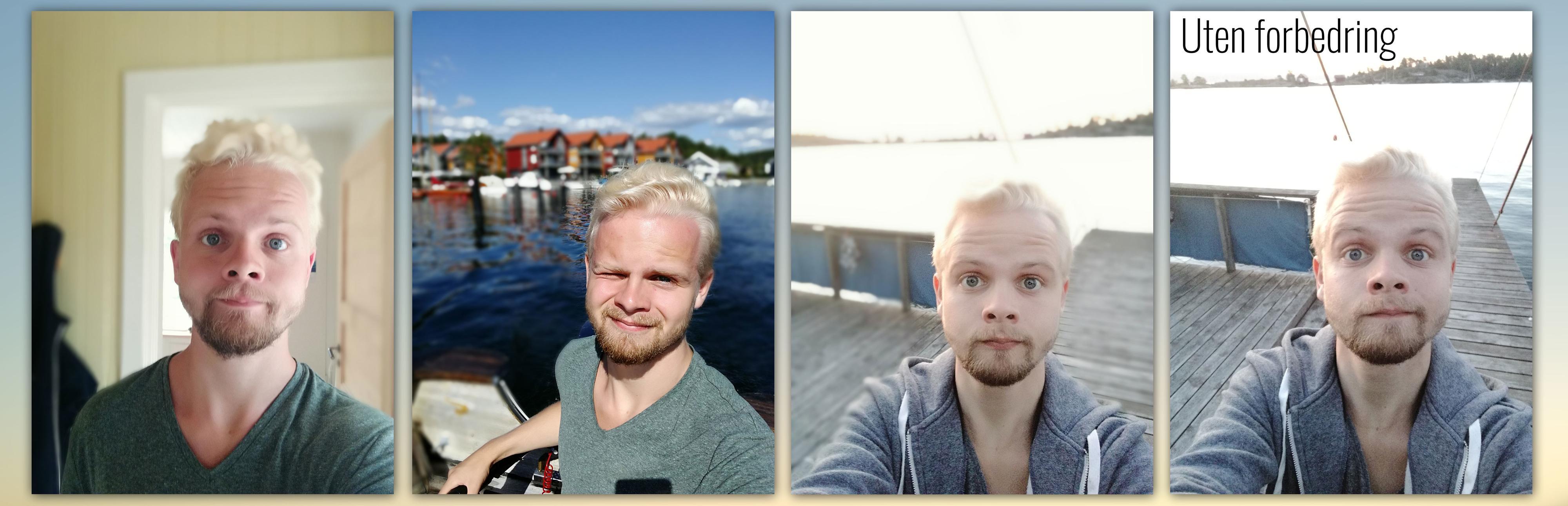 Frontkameraet legger på en effekt som standard. Til høyre et «vanlig» bilde.