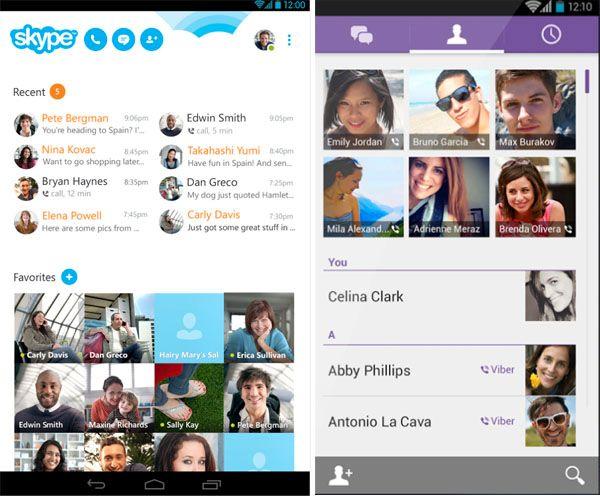 Skype (til venstre) og Viber er to gode IP-telefoni-apper.