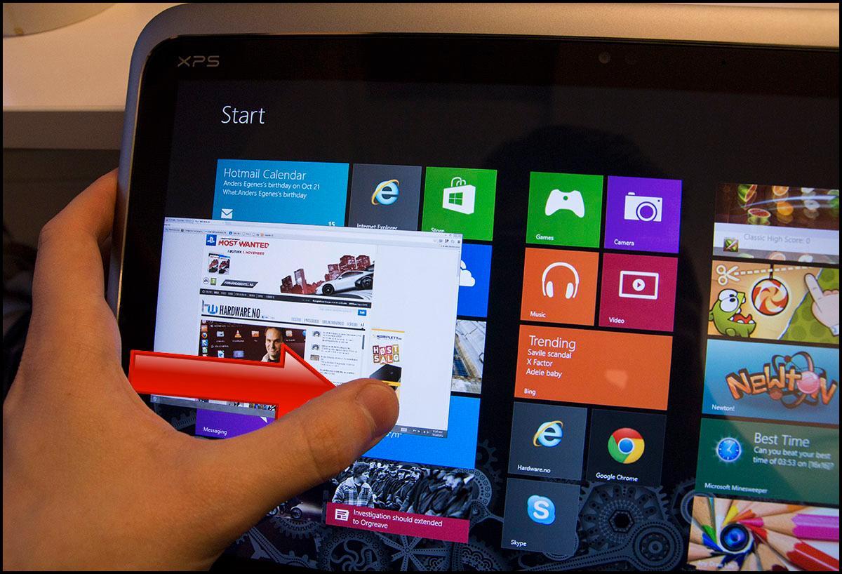 Et enkelt sveip inn fra venstre side vil dra frem det sist brukte programmet.Foto: Hardware.no