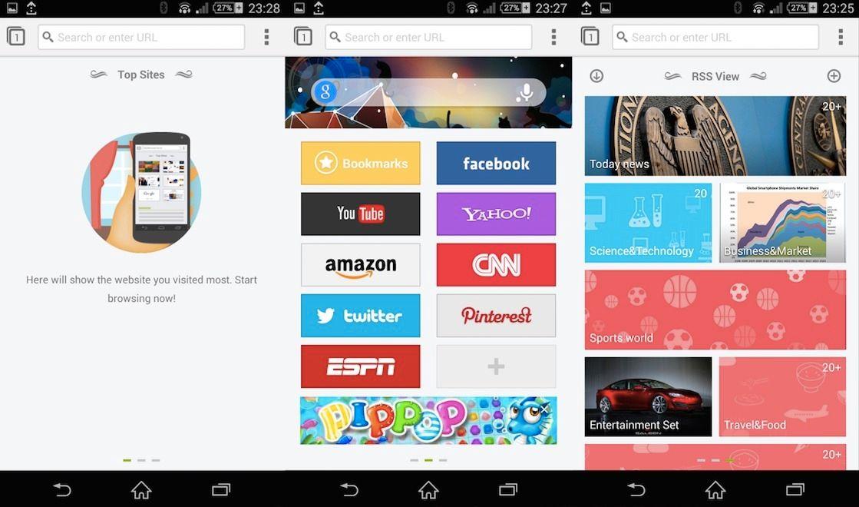 De tre startsskjermene i Next Browser. Til venstre vises de nettsidene du besøker mest, i midten er hurtivalgene og til høyre er nyhetsfeeden.Foto: GO Launcher Dev Team