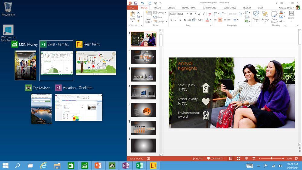 I Windows 10 kjører apper på samme måte som programmer, og de kan festes lettere enn før.Foto: Microsoft
