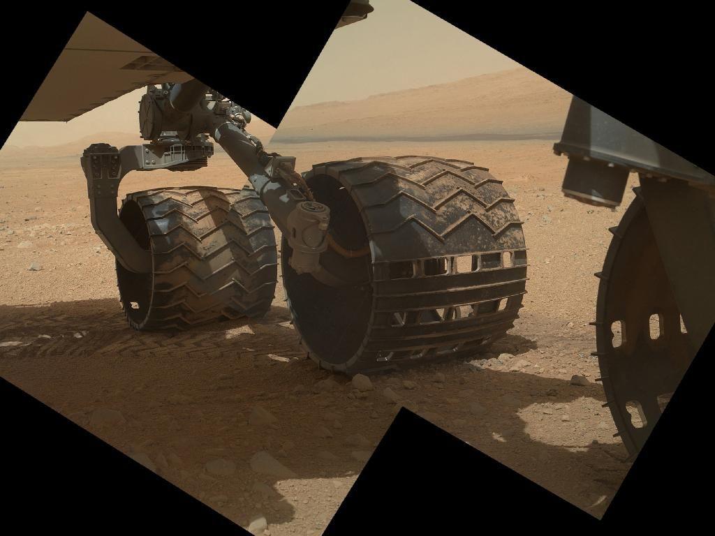 STERILT: Alle delene på Curiosity som skulle være i kontakt med Mars - deriblant de seks hjulene - ble sterilisert før avreise fra jorden. Nesten alle, i alle fall.Foto: JPL-Caltech/Malin Space Science Systems (NASA)