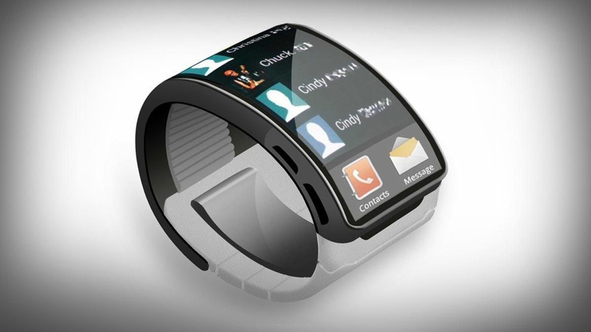 Konseptskisse som viser hvordan Samsungs smartklokke kan se ut, basert på tegninger i en patentsøknad.Foto: CNET