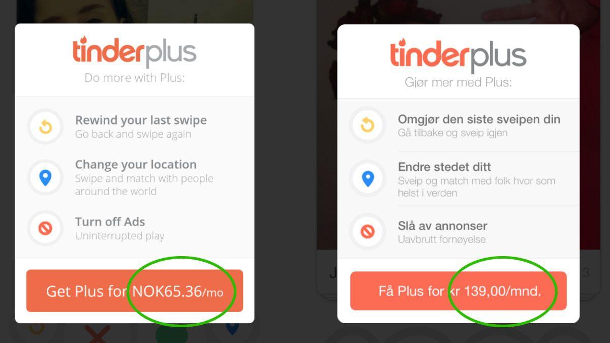 Hvor mye må du betale for Tinder Plus?
