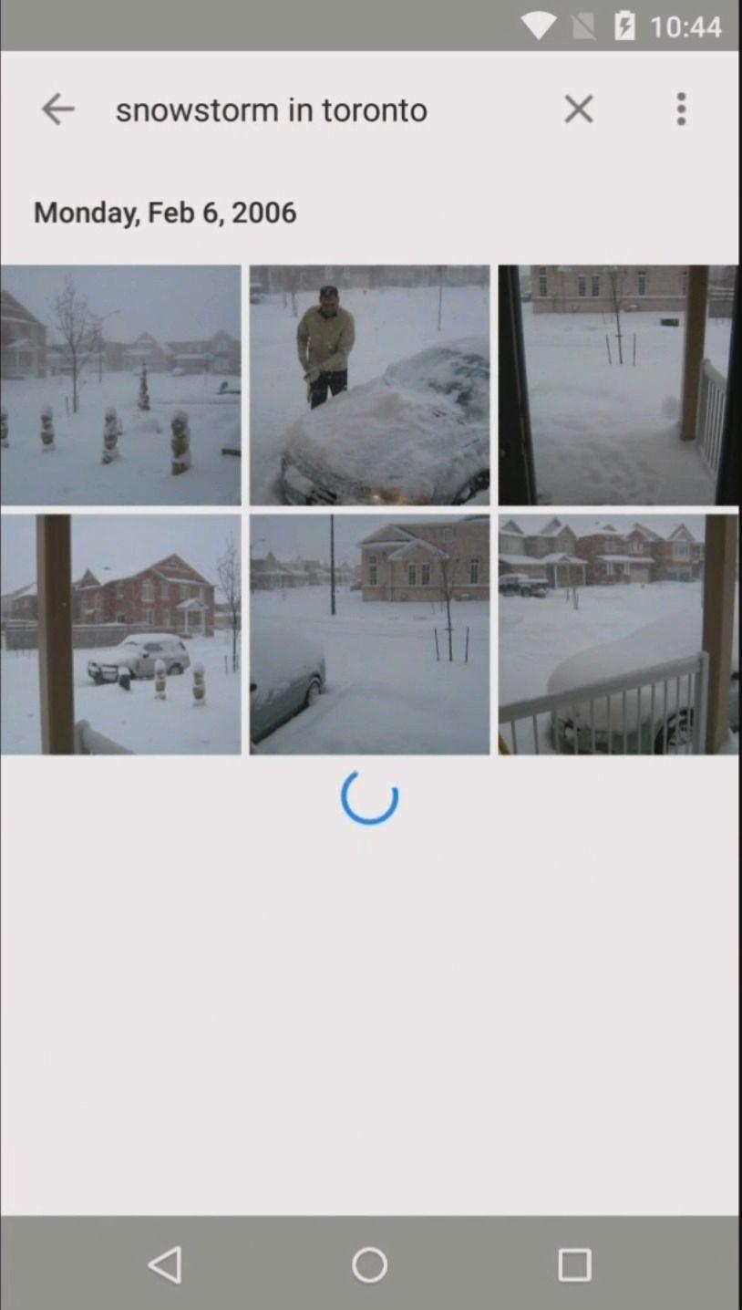 Den nye tjenesten skal kunne skille mellom en rekke ulike ting som dukker opp i bilder. Her har Photos-sjefen søkt etter en snøstorm i Toronto. Foto: Skjermdump, Youtube/Google
