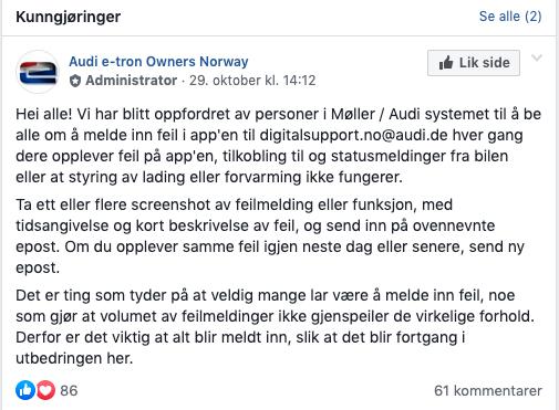 FRUSTRASJON: Etter svært mange innlegg i Facebook-gruppen «Audi e-tron Owners Norway»