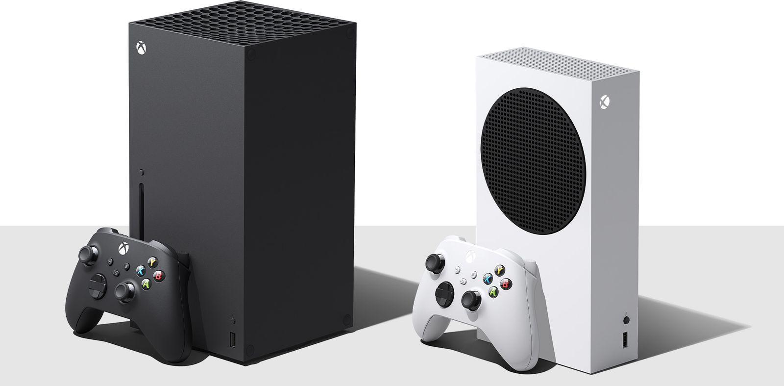 Xbox Series X til venstre. Den rimeligere og svakere Xbox Series S, uten diskdrev, til høyre.