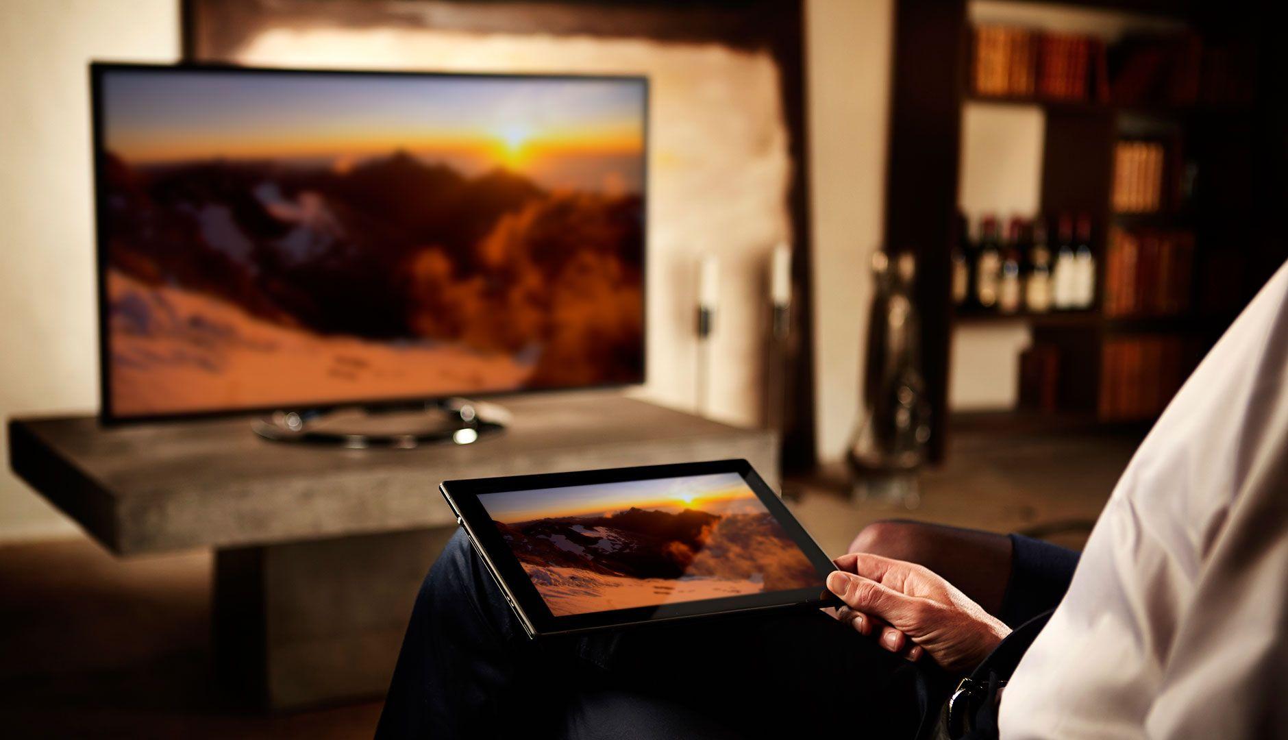 """Skjermen kan """"speiles"""" på en TV. Bildet blir heldigvis ikke speilvendt."""