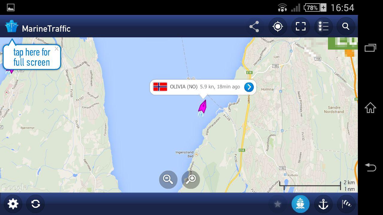 Skjermskudd av Marine Traffic.