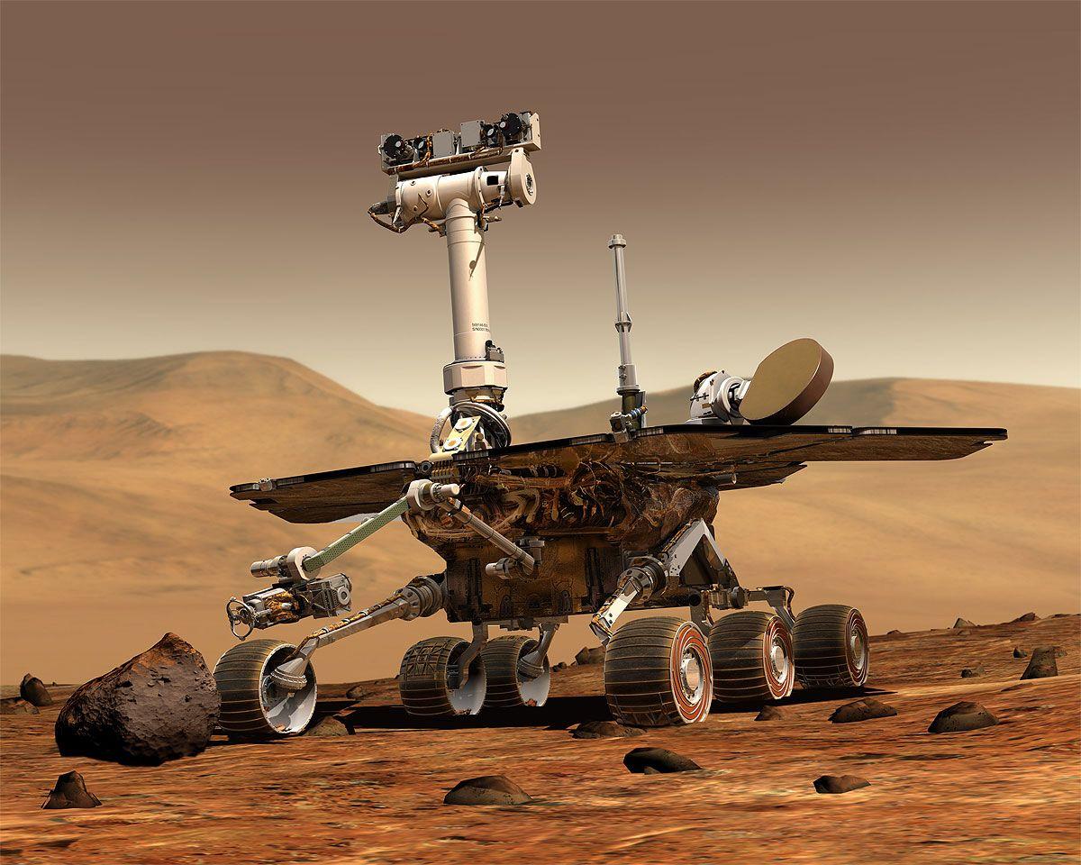 STILL GOING STRONG: Oppdraget til marsbilen Opportunity var i utgangspunktet ferdig i 2004, men ruller fremdeles rundt på den røde planeten. Nå har den sendt hjem et gåtefullt bilde NASAs forskere ikke kan forklare.Foto: NASA