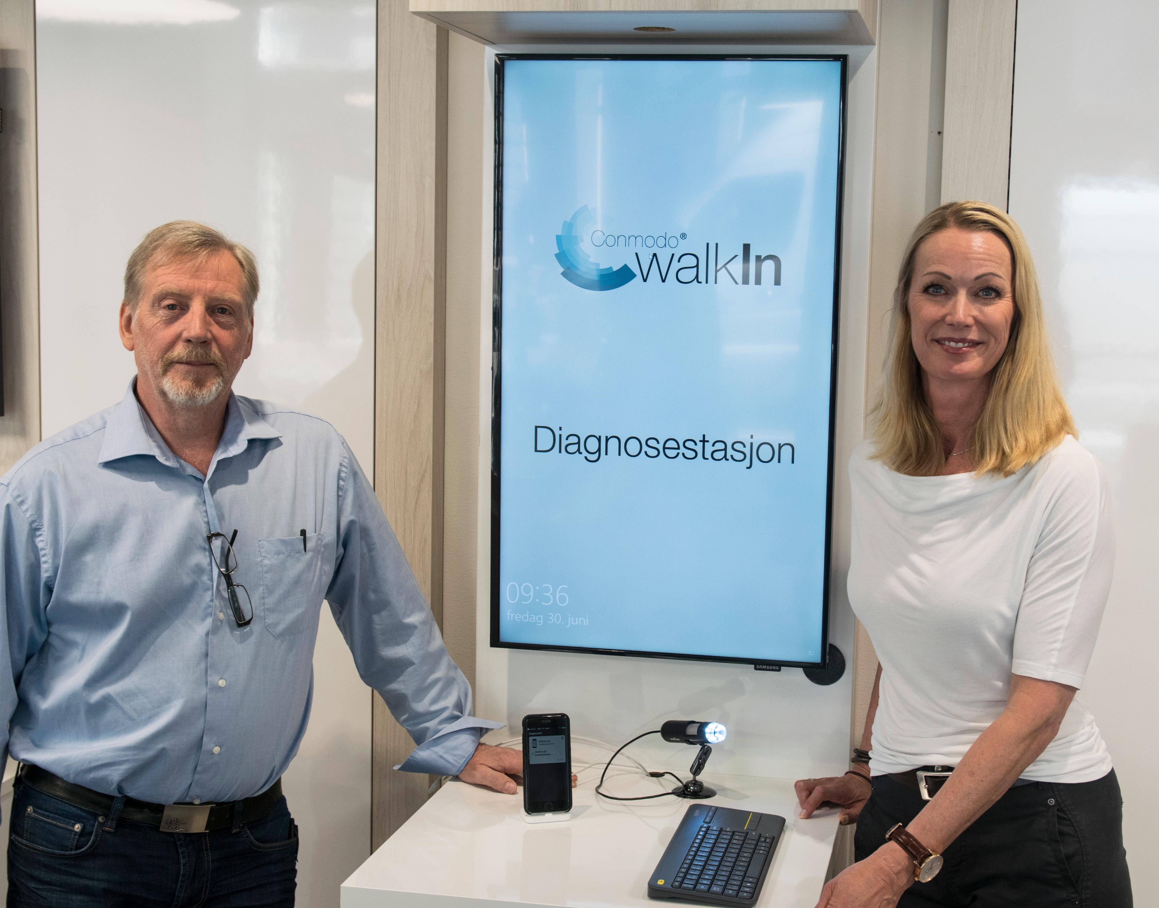 Konsept- og utviklingssjef Kåre Ronny Sletten og daglig leder Camilla Hall-Henriksen i Conmodo WalkIn åpner butikkene sine for lynservice av iPhoner på torsdag denne uken.