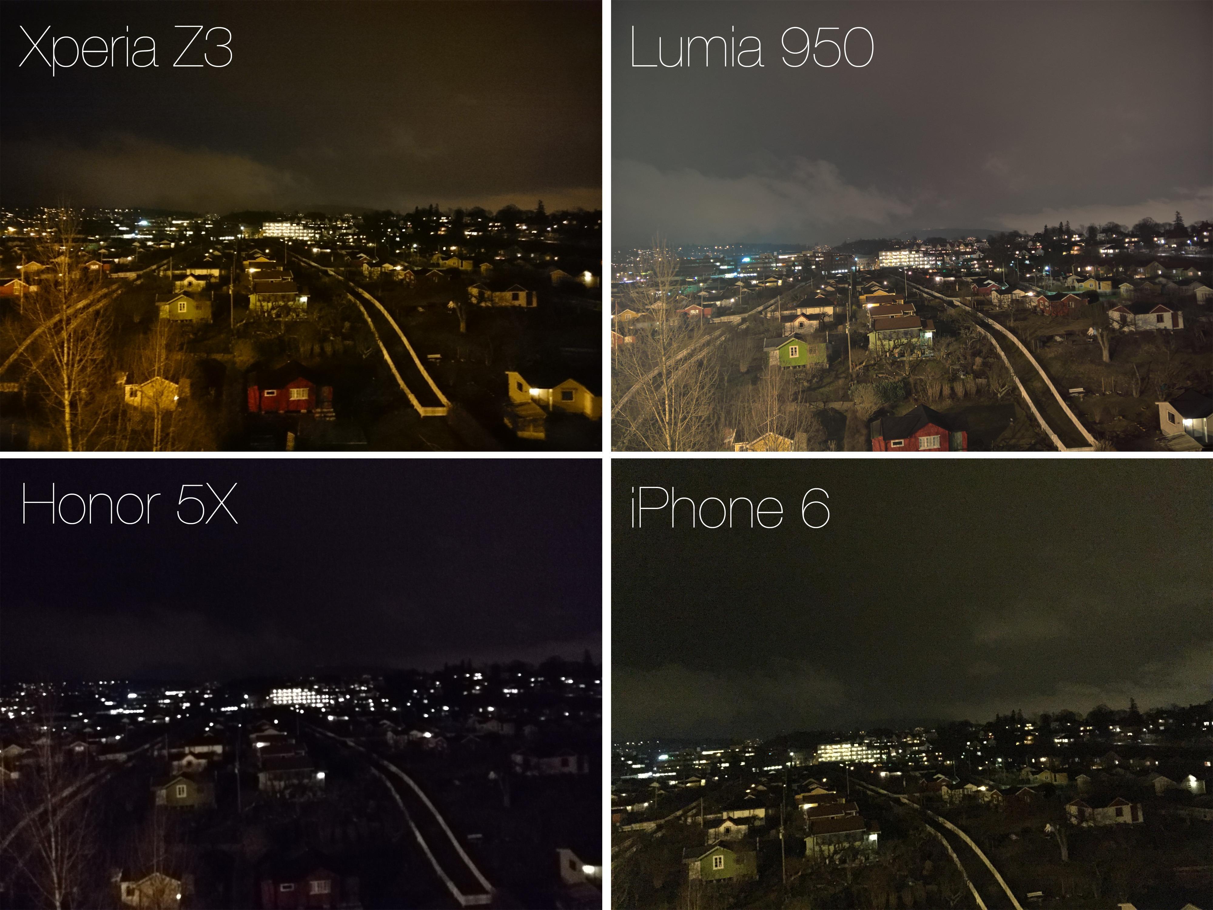 Kameraet i Honor 5X sliter når mørket faller på. Både Xperia Z3 og iPhone 6 yter bedre, mens Lumia 950 viser hvor mye man kan få ut av skikkelige manuelle instillinger.
