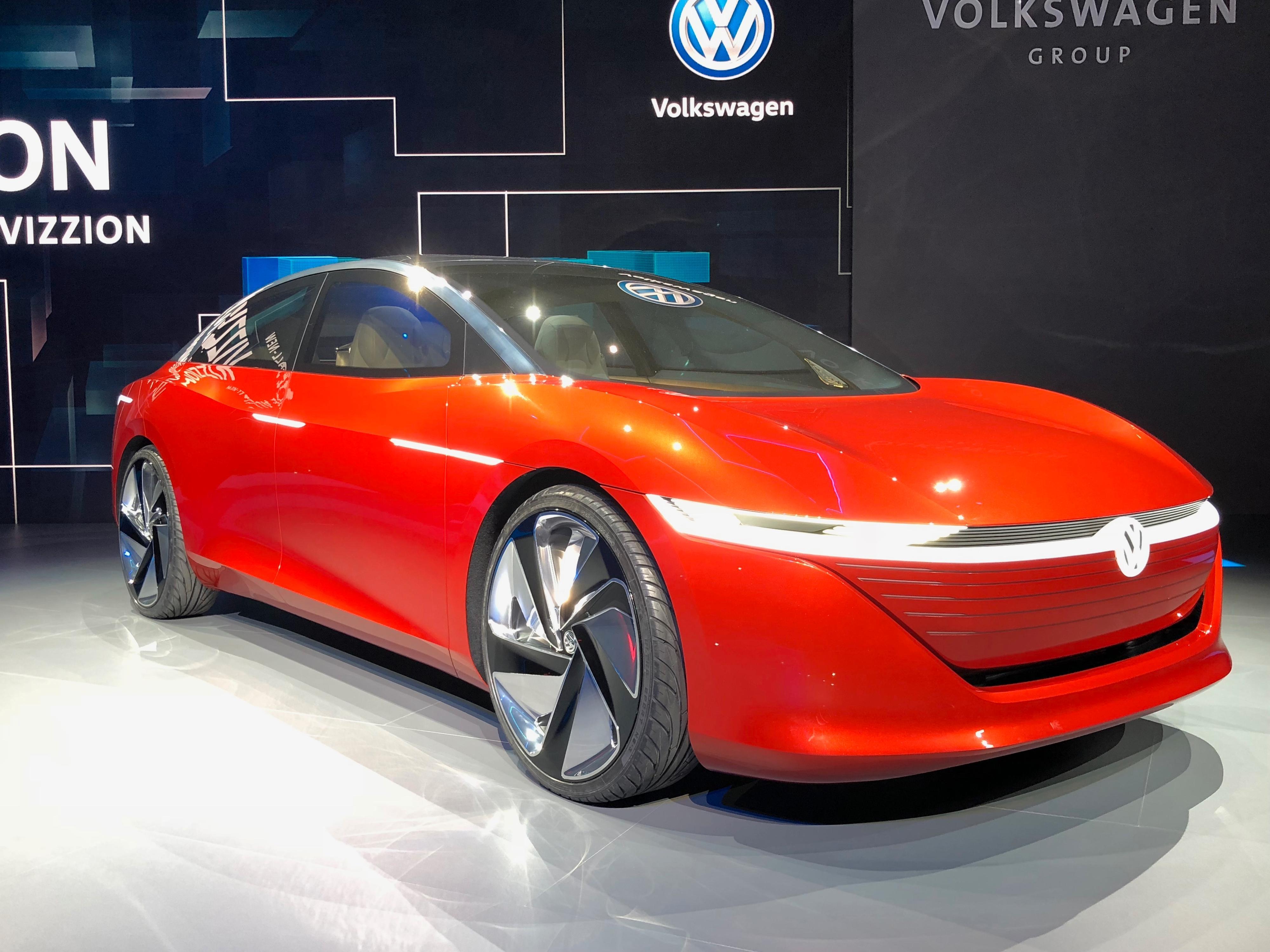 VW I.D. Vizzion-konseptet utstilt på bilmessen i Geneve nylig.
