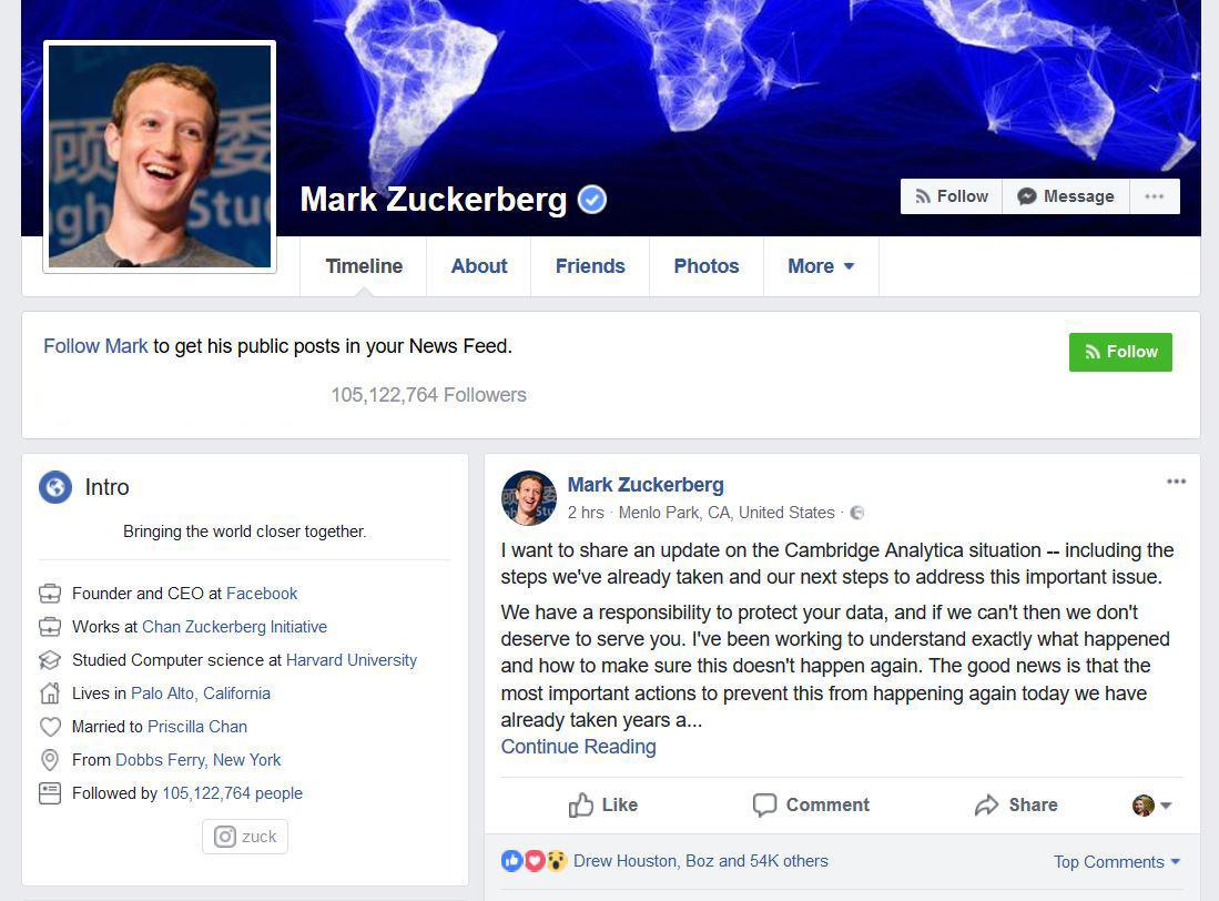 Mark Zuckerberg bekreftet problemene, og antydet også at flere apper som benyttet Facebook Platform frem til 2014 kan ha gjort ugagn. Dette skal nå undersøkes.