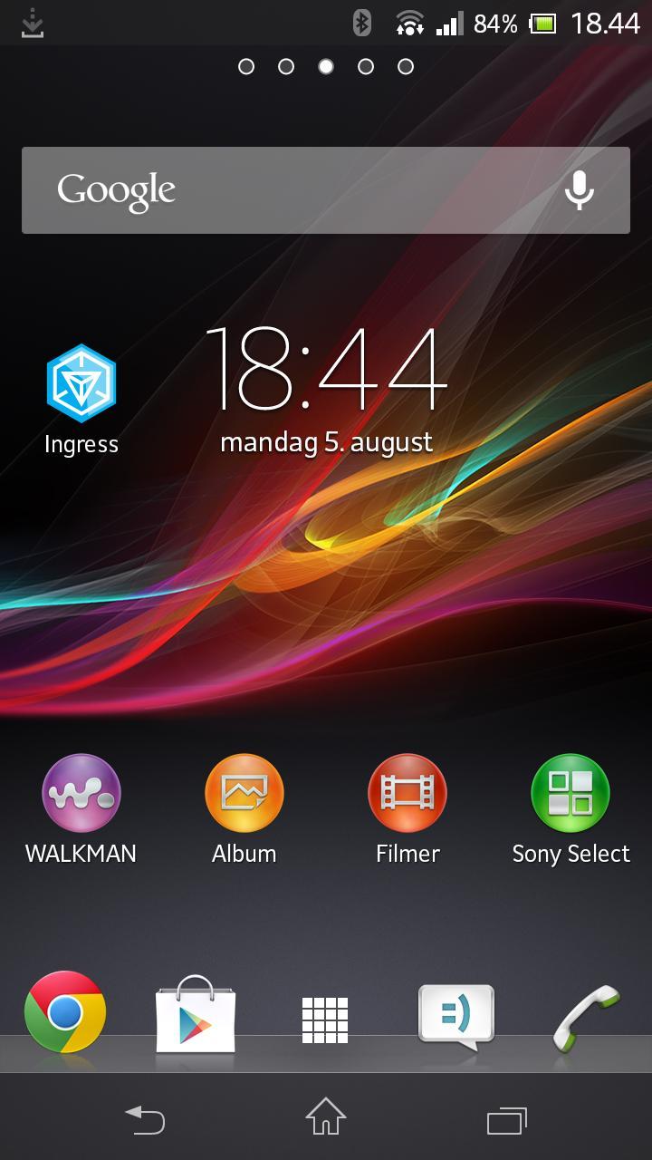 Startskjermen på Xperia ZR.