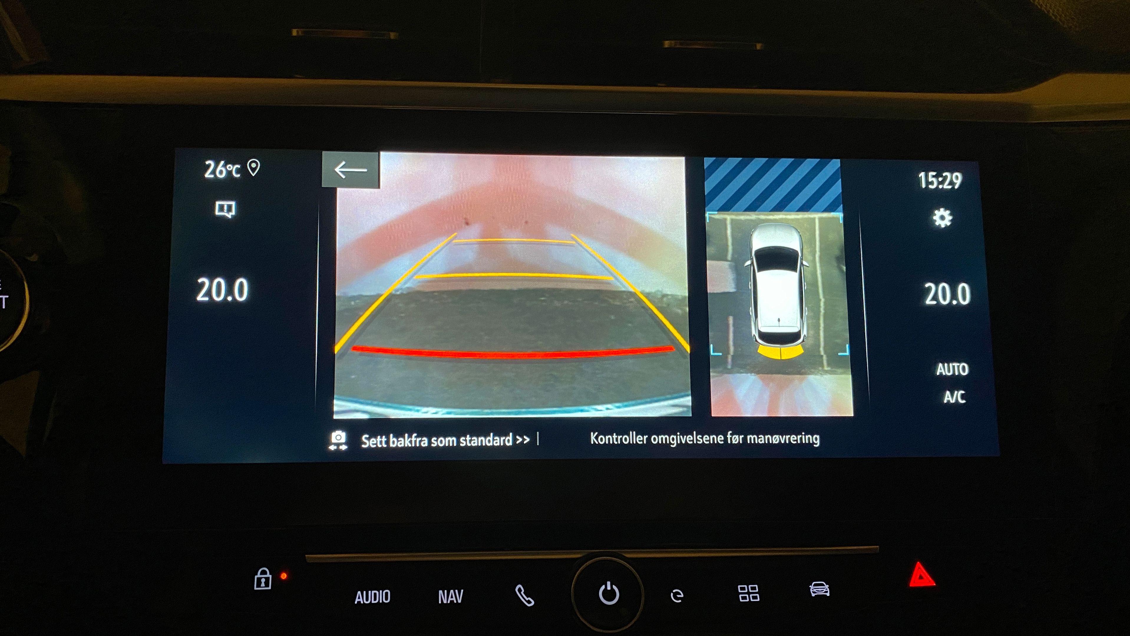 Panorama-ryggekameraet er kjekt å ha og kanskje ikke utstyr som vanligvis fåes på biler i denne kategorien.