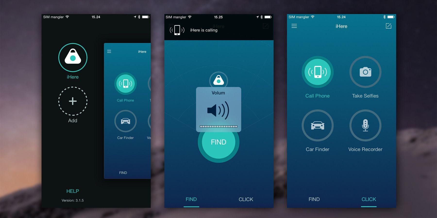Slik ser startskjermene og sidemenyen (venstre) ut i iHere-appen til iOS. Bildet i mditen viser en leteaksjon etter mobilsom akkurat er startet. Da får du varsel om brikken ringer, og volumet tvinges opp til full pinne.