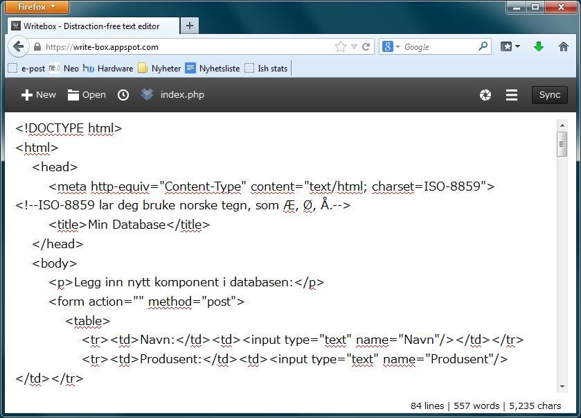 WriteBox lar der redigere enkelte typer tekstdokumenter rett i nettleseren, også HTML.