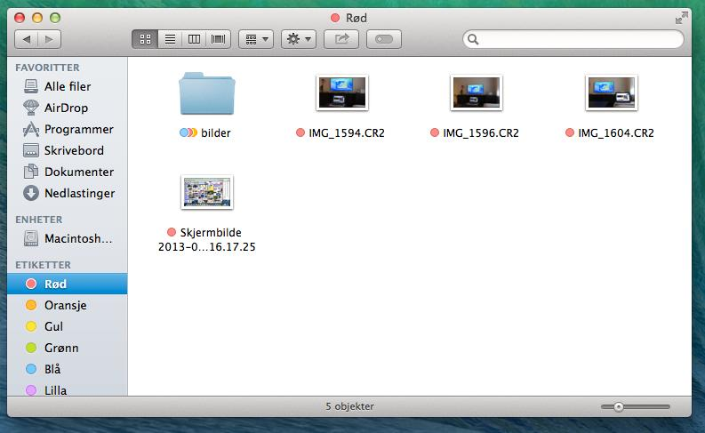 Du kan hente opp alle filer med samme etikette, «Rød» i dette tilfellet.
