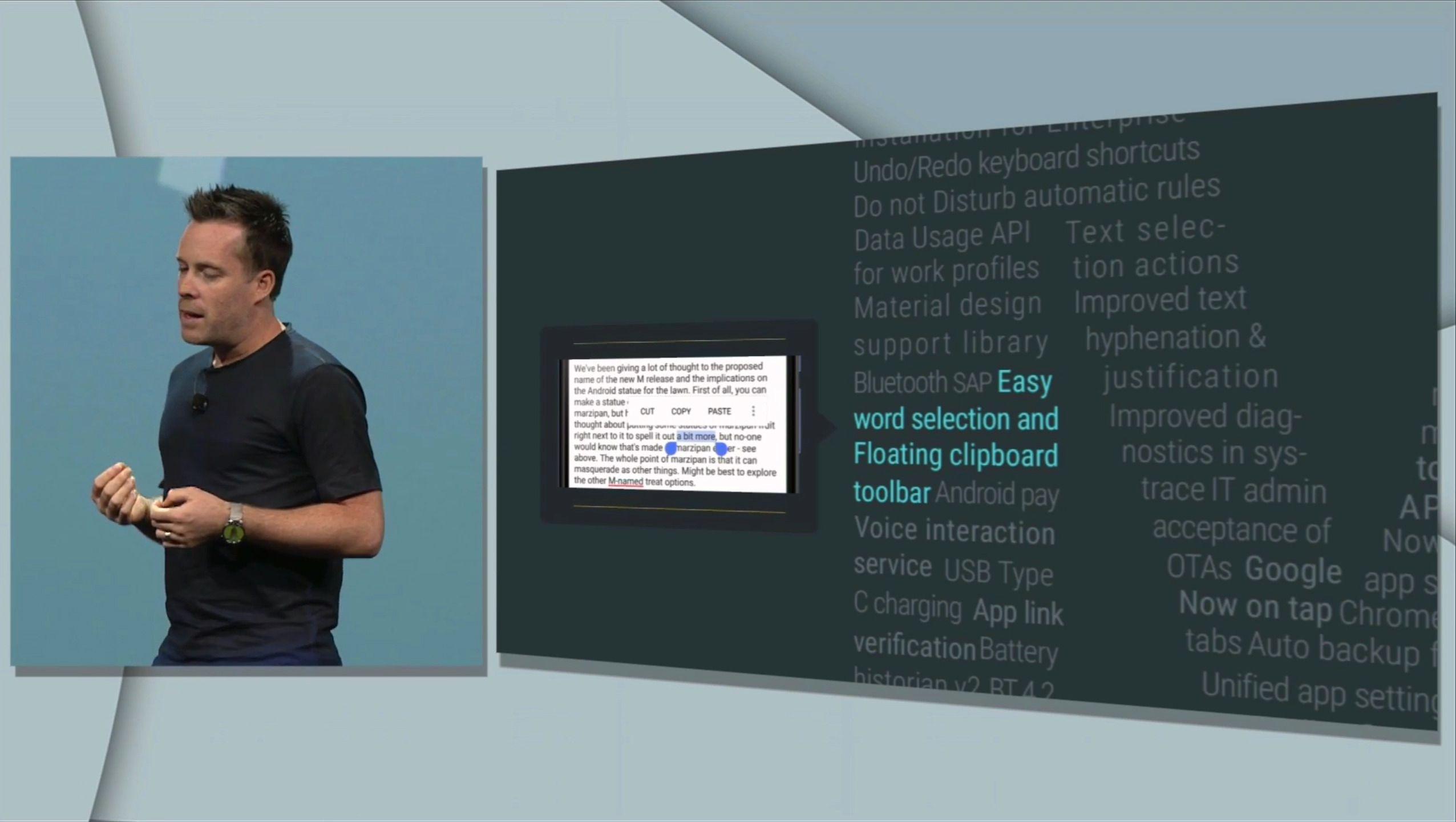 I Android M vil tekstvelgeren hoppe ett og ett helt ord bortover når du trekker fingeren til høyre på skjermen. Trekk andre veien for detaljert valg, ett tegn om gangen. Foto: Skjermdump, Youtube/Google