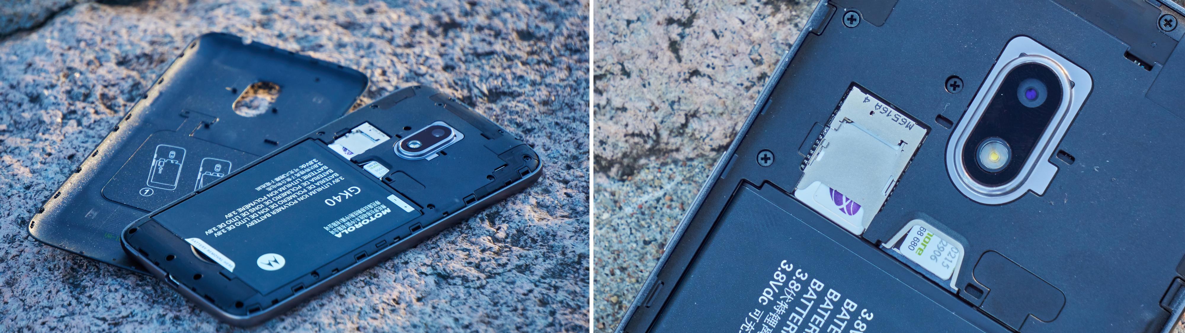 Joda, bakdekselet kan tas av – og batteriet byttes.