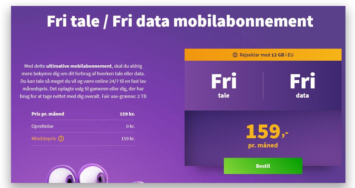 159 danske kroner i måneden for fri data hos Oister. Og der er grensa for «fair use» hele to terabyte.
