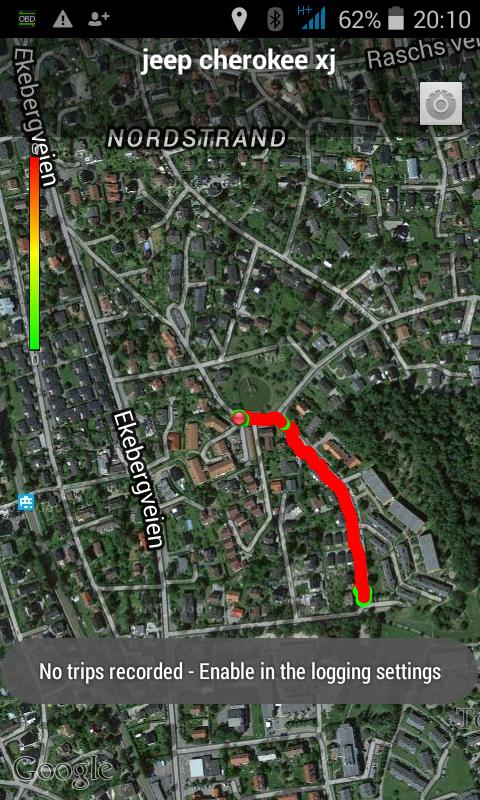 En kartfunksjon i appen Torque viser deg hvor du har kjørt, og dersom du har aktivert logging vil den også vise distansen og tiden for kjøreturen din.