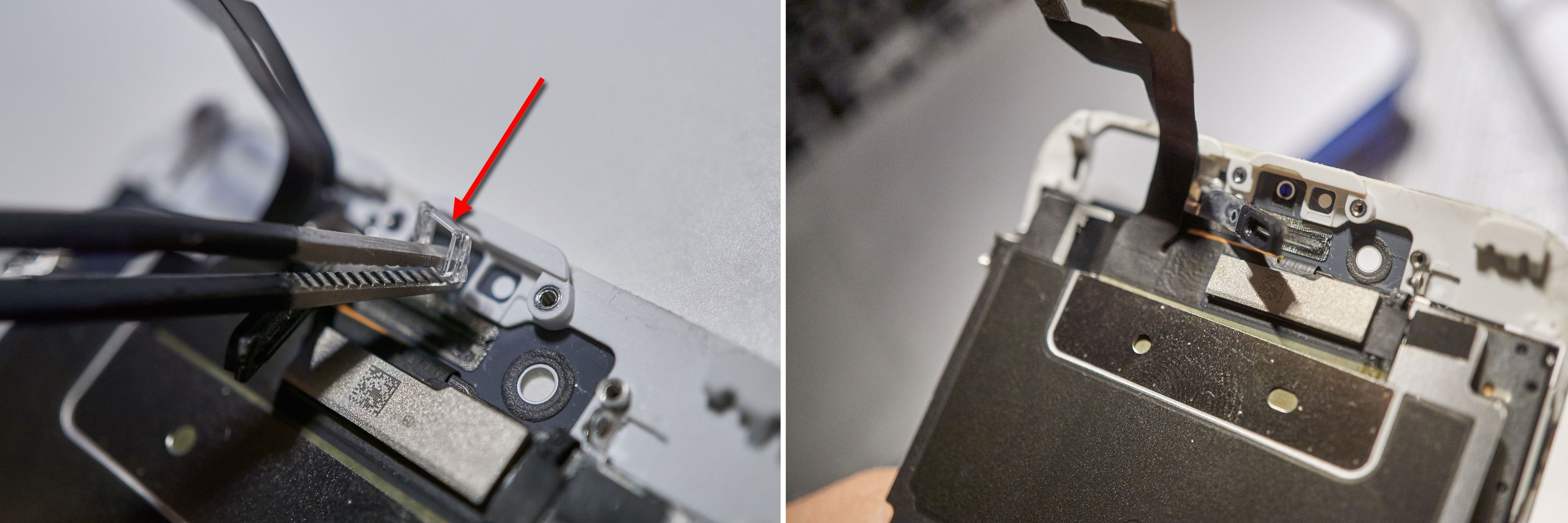 Enda en brakett må ut, og de to teipbitene LCD-skjoldet er festet til må kuttes.