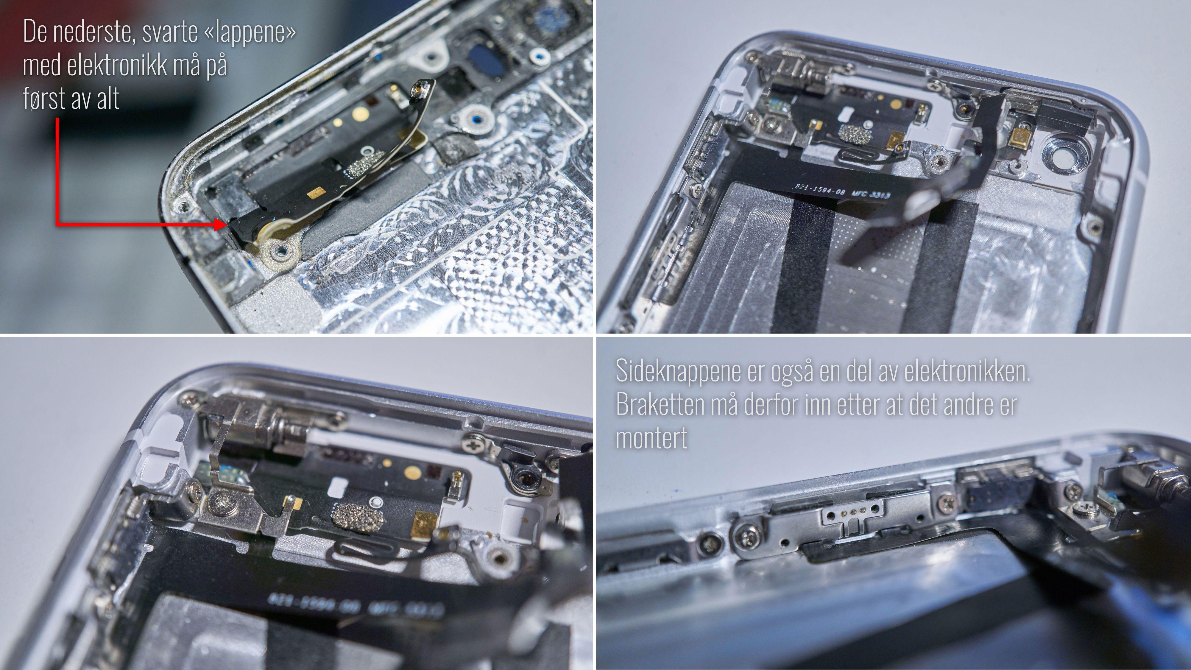 I toppen er det samme prosedyre som i bunn: først flat elektronikk, så skru fast øvrige deler.