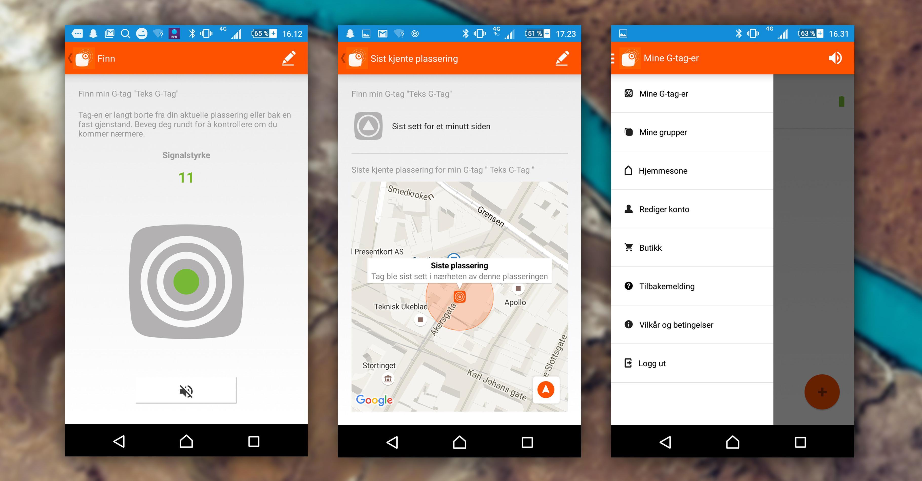 G-tag kommer utstyrt med en ganske pen app, som benytter en radarfunksjon til å fortelle deg hvor brikken befinner seg. I midten er et bilde av hjemmesonefunksjonen, som lar deg fininnstille radiusen hjemmesonen skal være innenfor.