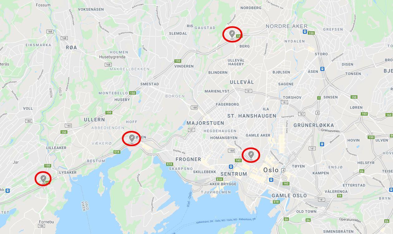 De fire nye Supercharger-stasjonene i Oslo-området.