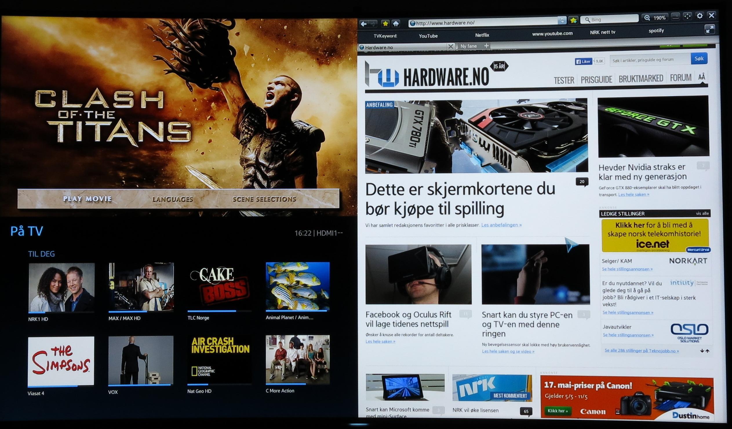 Delt skerm, der vi velger å ha nettleseren på den høyre delen av siden. .Foto: Ole Henrik Johansen / Hardware.no
