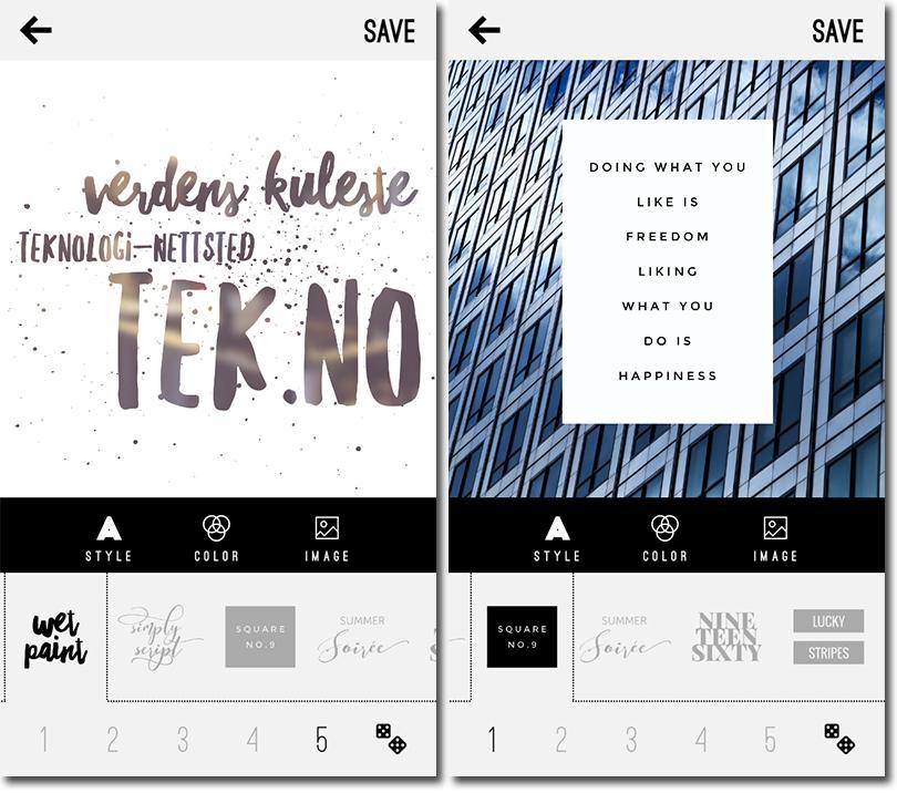 Bruk WordSwag til å swagge opp bildene dine med fancy tekst og livsmotiverende sitater.