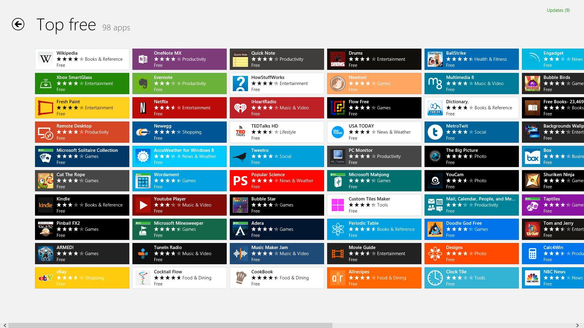 Windows 8 Store tilbyr applikasjoner til startskjermen.Foto: Hardware.no