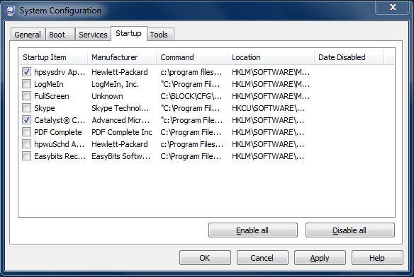 Windows 7: Under oppstart-fanen i msconfig kan du hindre programmer fra å starte opp automatisk med maskinen.