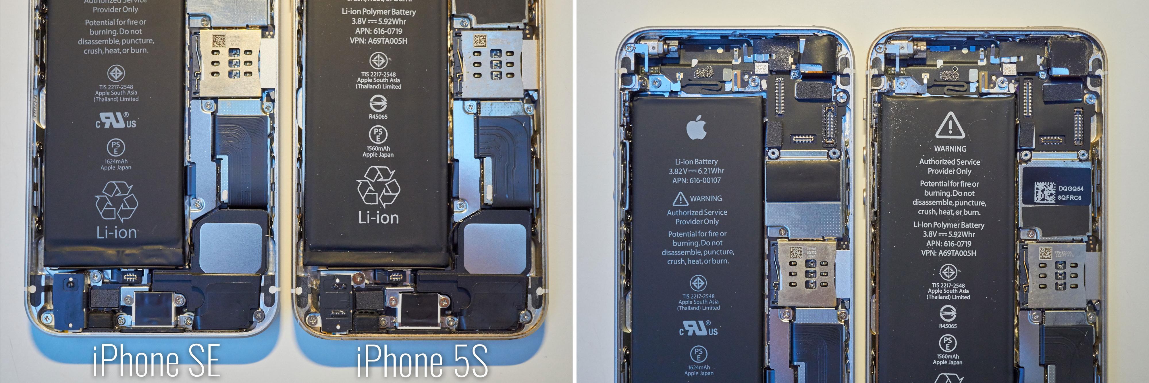 iPhone 5S og SE ser like ut på innsiden også. Klikk for større bilde.