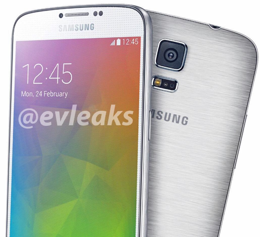 Dette bildet ble postet av @evleaks i går. På forsiden har den det samme prikkemønsteret som ble introdusert med Galaxy S4. Langs kantene, og bak, ser det ut til å være aluminium, eller metallimitasjon, som gjelder.Foto: @evleaks