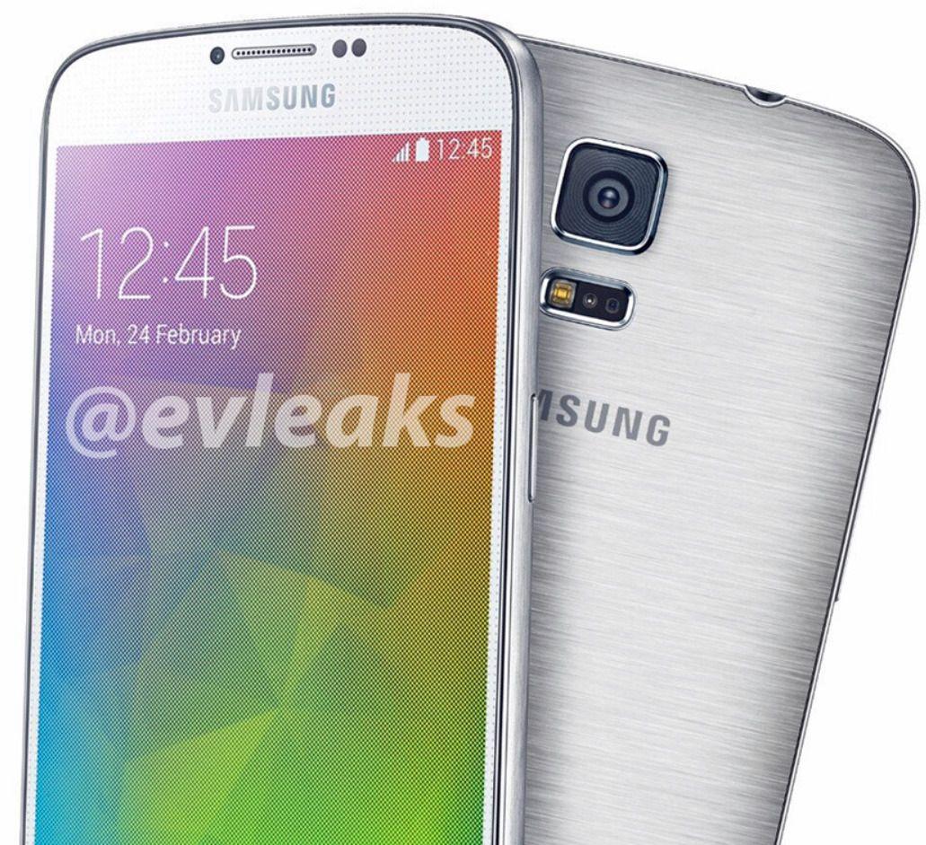 Dette bildet har tidligere vært delt av ryktemakeren @evleaks. Det skal vise Galaxy S5 Prime, eller Galaxy F, avhengig av hva telefonen faktisk blir hetende.Foto: @evleaks