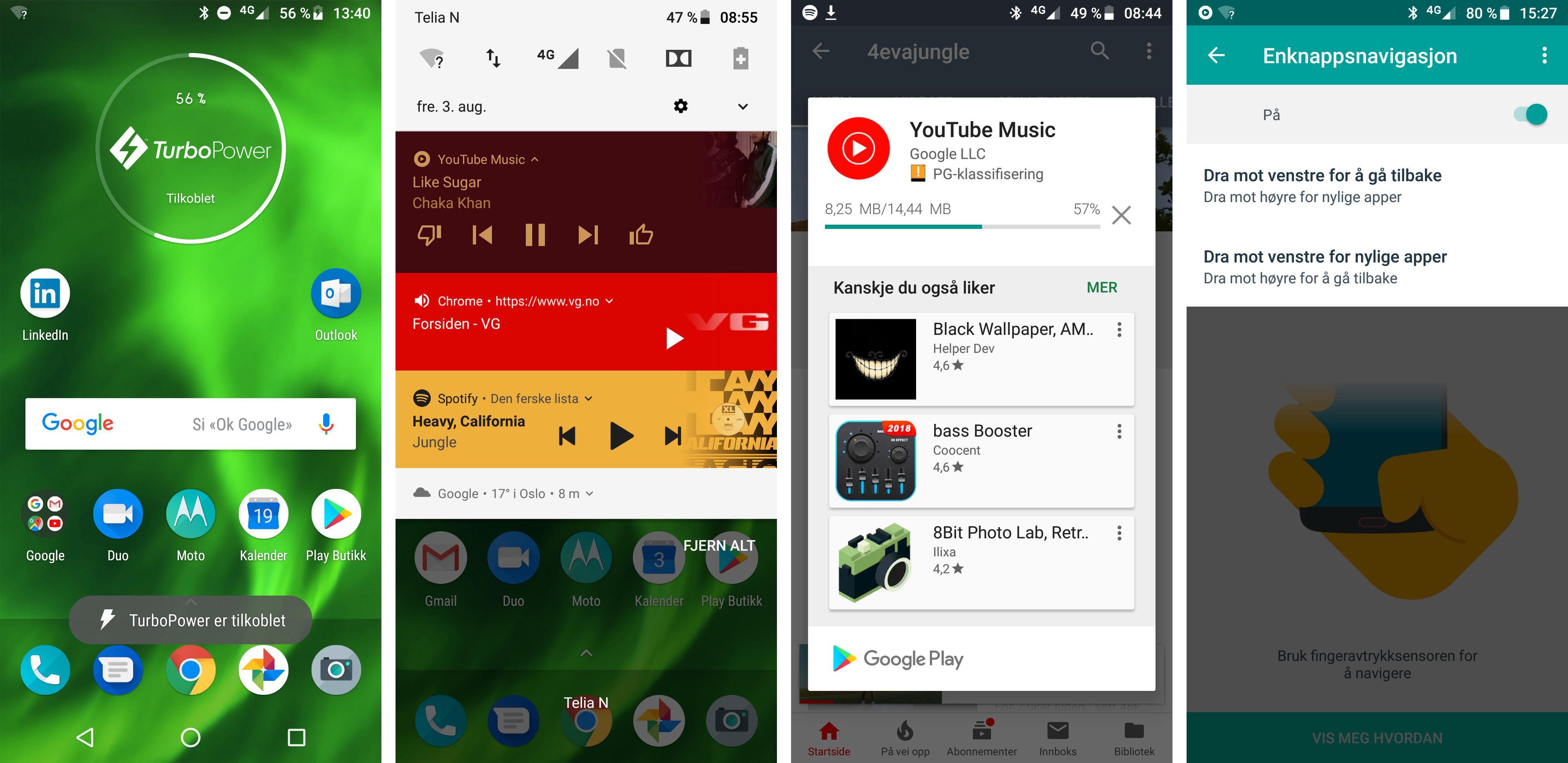 Det er tilnærmet ren Android som kjører på Moto G-telefonene. Det eneste Motorola-tillegget her er Moto-appen der du kan skru av og på fingeravtrykksleserens ekstrafunksjoner. Men du kan ikke tilpasse dem. Å legge til en bryter som skrur av og på de ulike enkeltfunksjonene den styrer hadde fjernet Moto G6' største irritasjonsmoment.